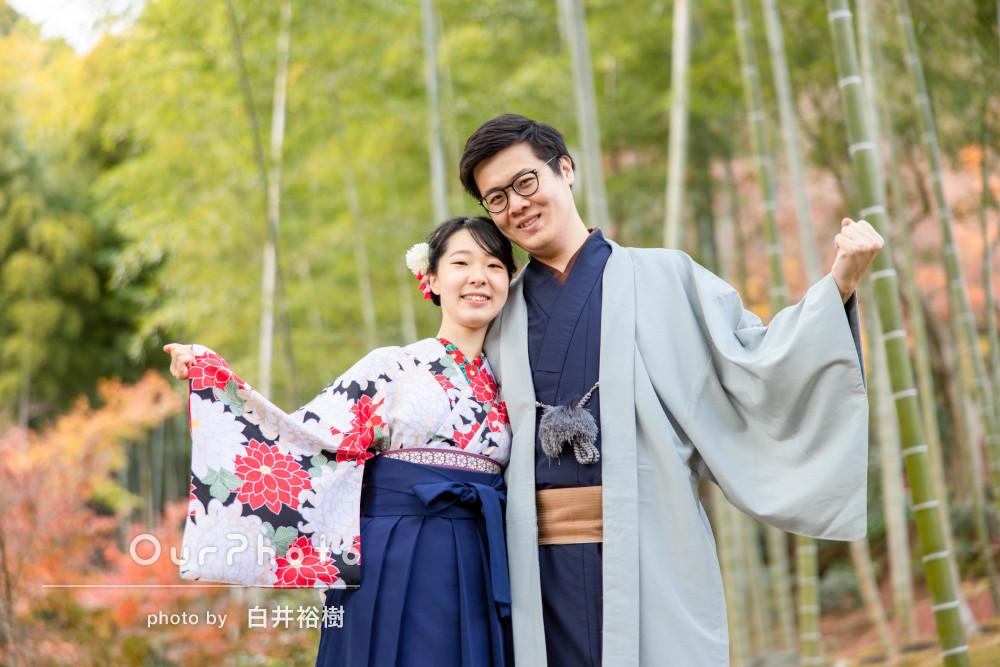 壮大な景色の中で!紅葉の綺麗なスポットでカップルの撮影