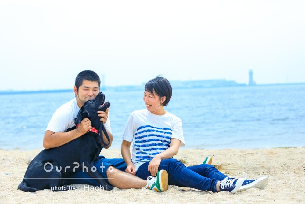 ペットのワンちゃんとご一緒に!ビーチでマタニティフォトの撮影
