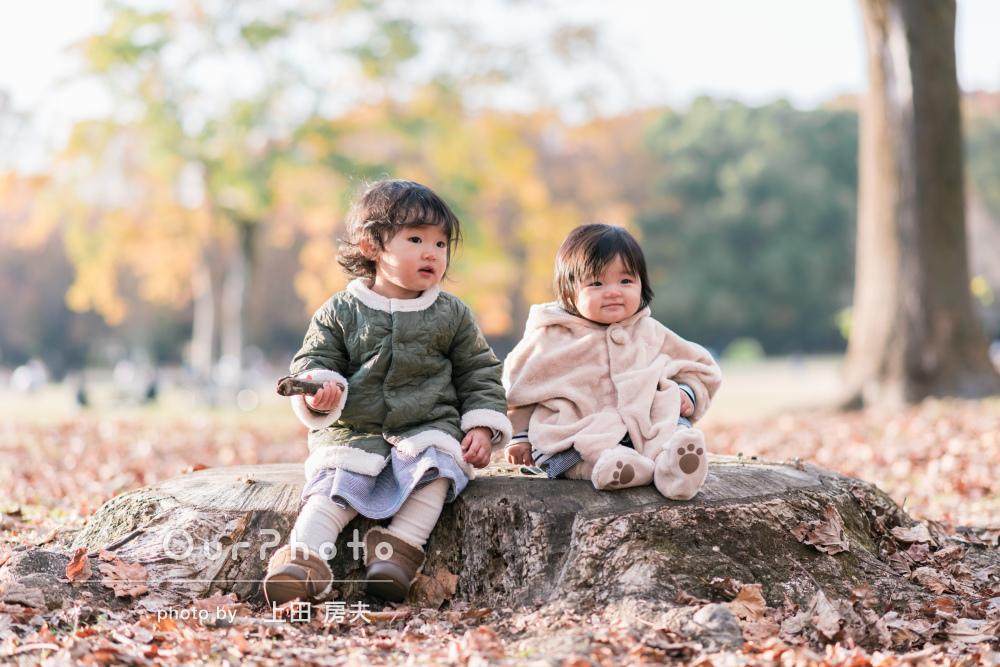 「機嫌よく撮影することができました」落ち葉がいっぱい!ご家族の撮影