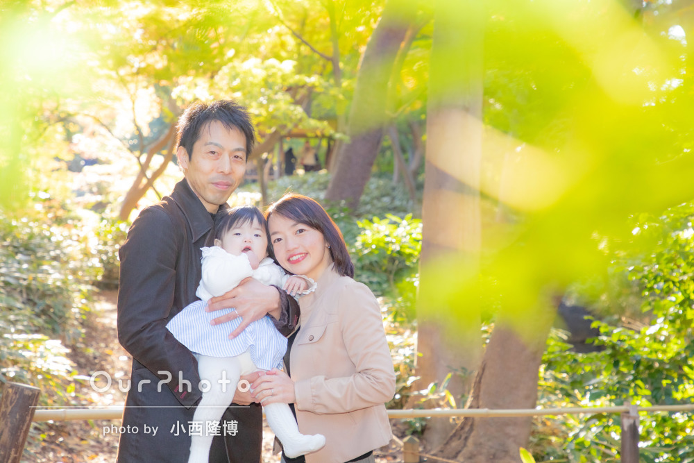 定期的に撮る子供の成長「感動的な仕上がり」紅葉の中で年賀状の家族写真