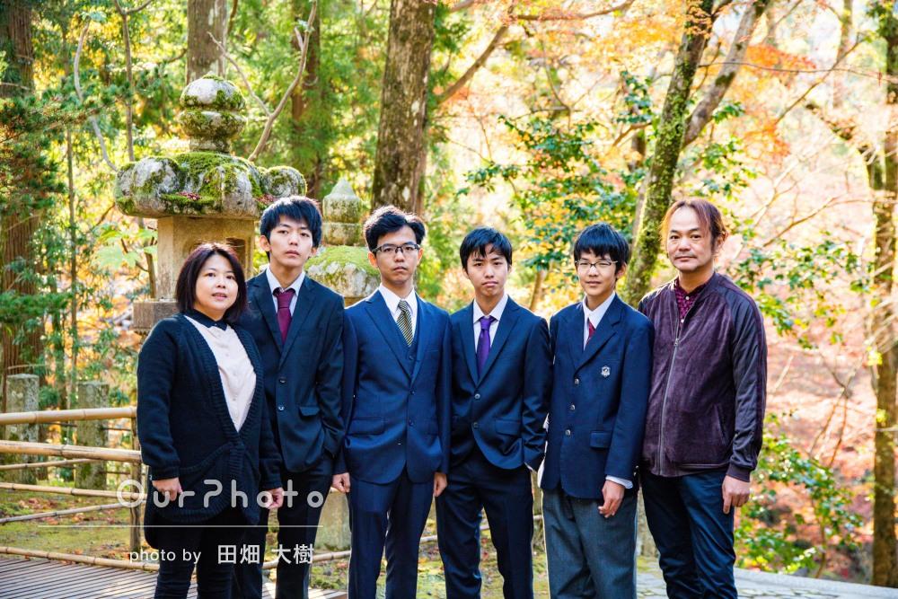 「はじめての家族写真に大満足」成人の記念に冬の山寺で家族写真の撮影