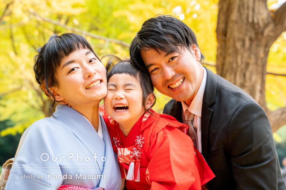 「明るくて優しい写真」家族の笑顔が素敵な3歳七五三の撮影