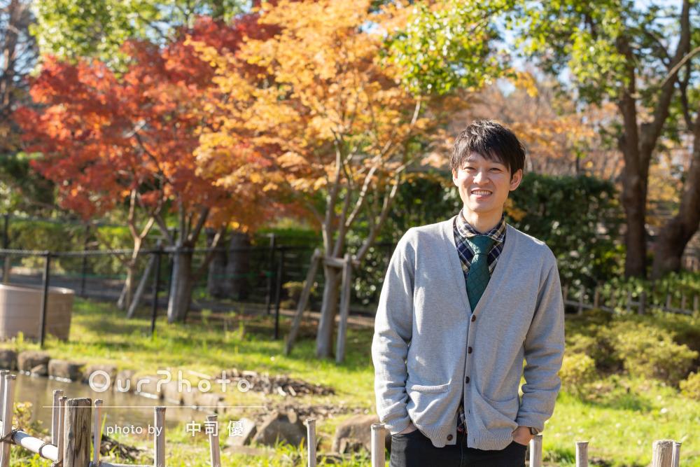 優しい笑顔が印象的!イメージに合った爽やかな公園でプロフィールの撮影
