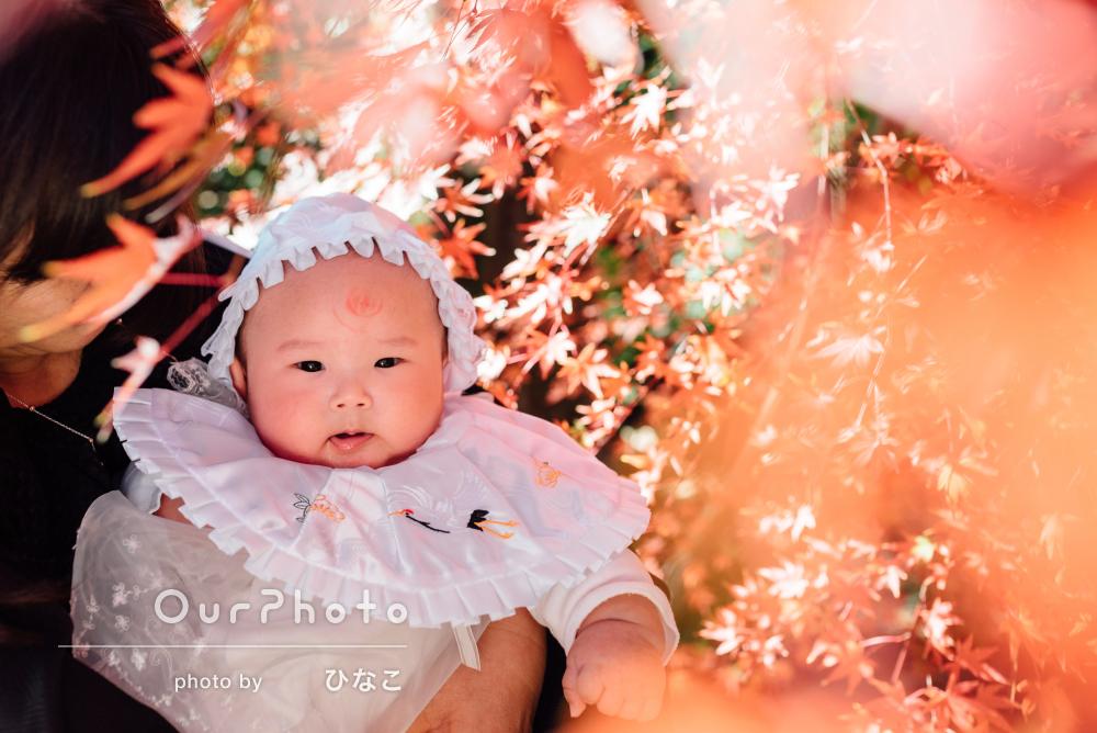 「撮影のアドバイスやヒアリング」桜色のほっぺが愛らしいお宮参りの撮影
