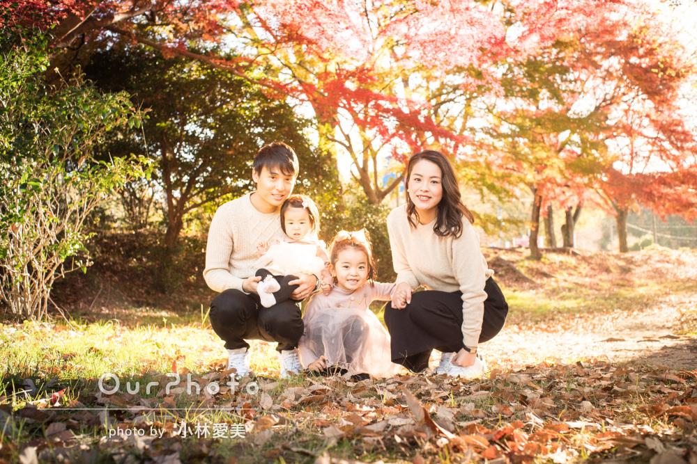 「どの写真も素敵で見返す度に笑顔になります」美しい公園で家族写真撮影