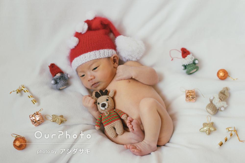 サンタや動物の衣装と様々な小物で12月生まれのニューボーンフォト撮影