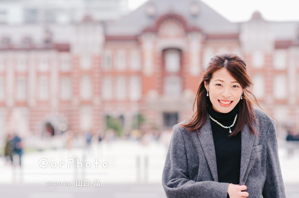 大満足の素敵な写真たち!冬の街中で女性プロフィール写真の撮影