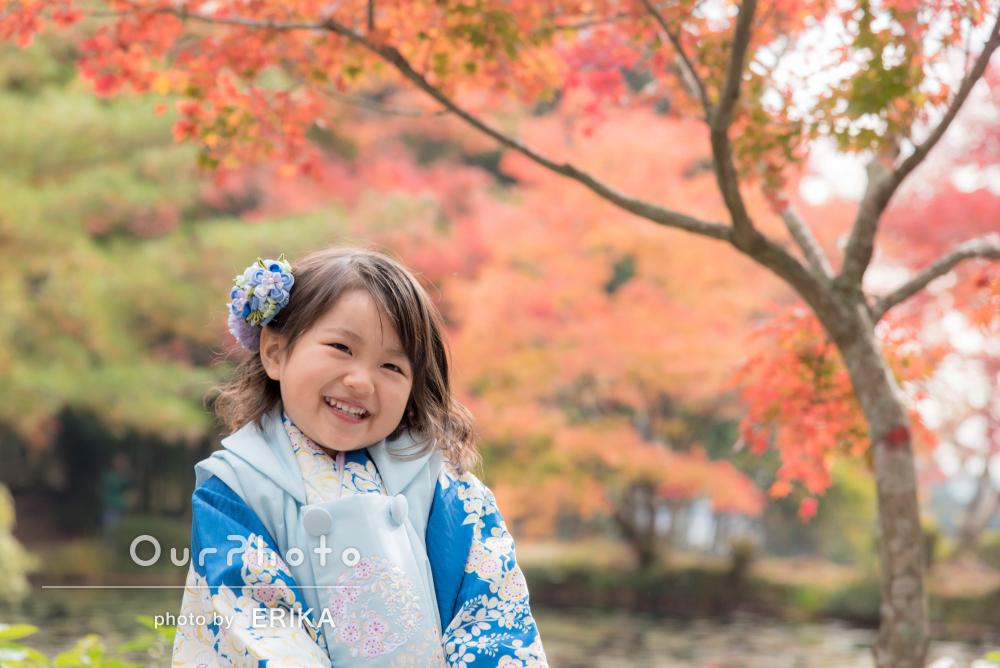 「子供もリラックスしてニッコリ笑顔」笑顔が映える七五三の撮影