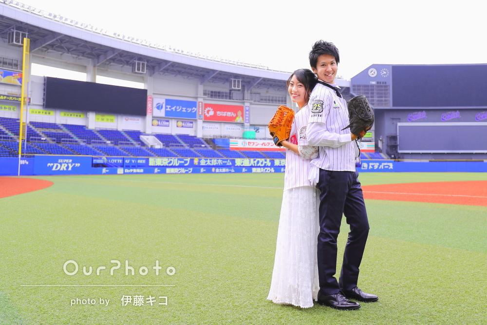 """「夫婦共々""""大々""""満足」野球スタジアムを貸し切って結婚式の前撮り"""