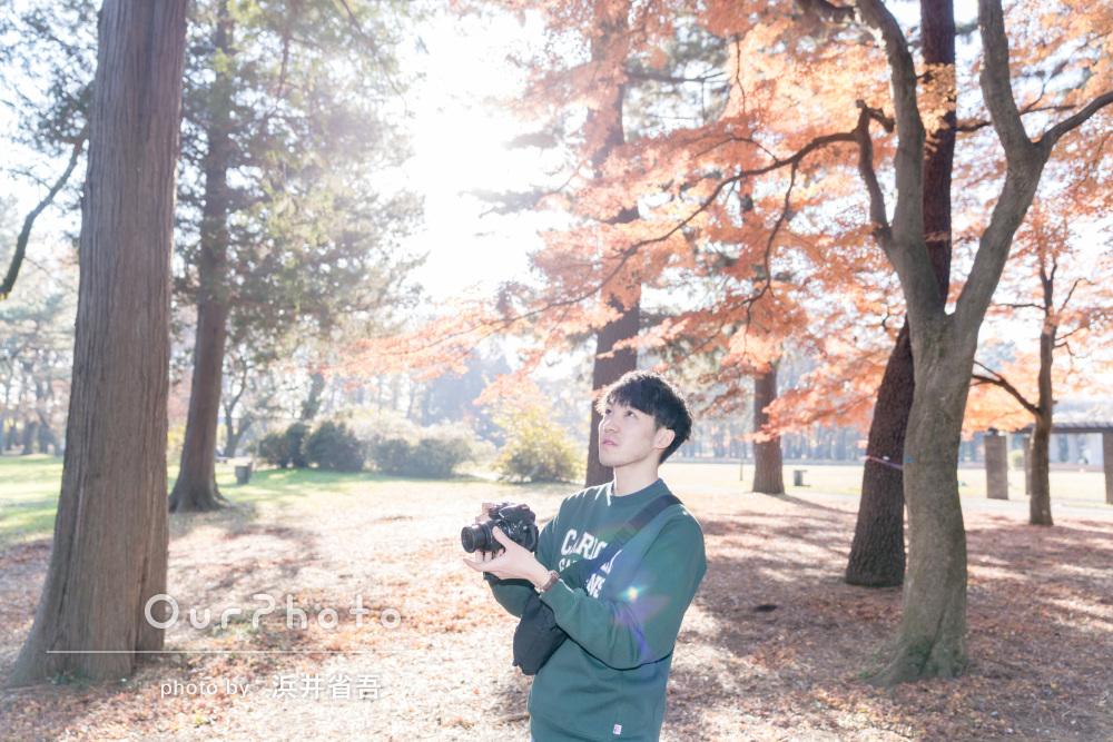 秋の日差し差し込む紅葉の森で!男性プロフィール撮影