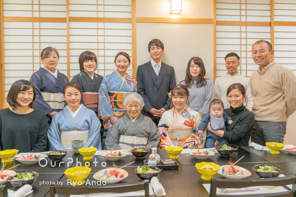 米寿祝い、成人祝い、ハーフバースデー祝いに親戚集合!家族食事会の撮影
