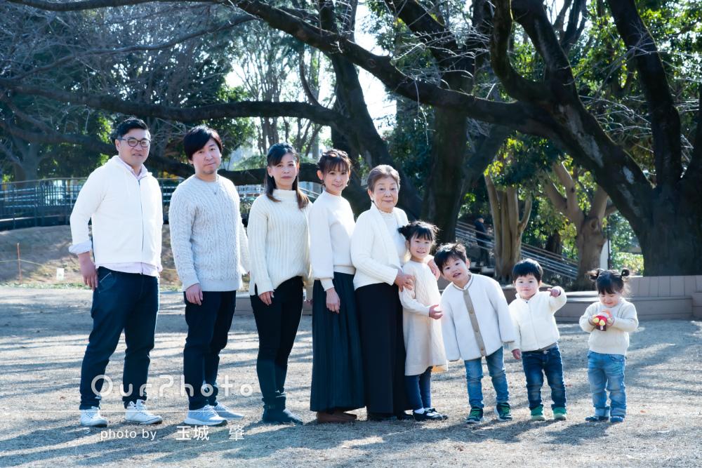 「丁寧に撮って頂きました」正月の親戚の集まりにリンクコーデで家族写真