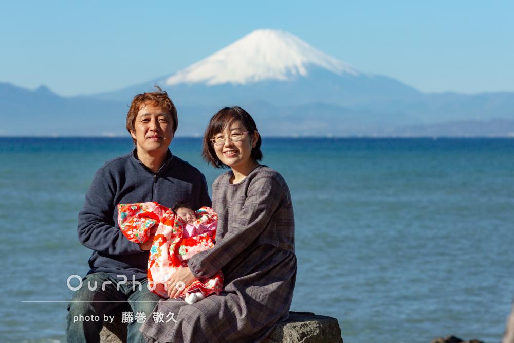「赤ちゃんにも気使いをして頂き良い撮影会」富士山を背にお宮参りの撮影