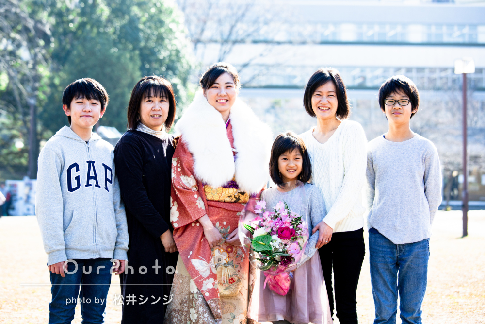 「想像を超える素晴らしい写真」親兄弟と成人式後に振袖姿で記念撮影