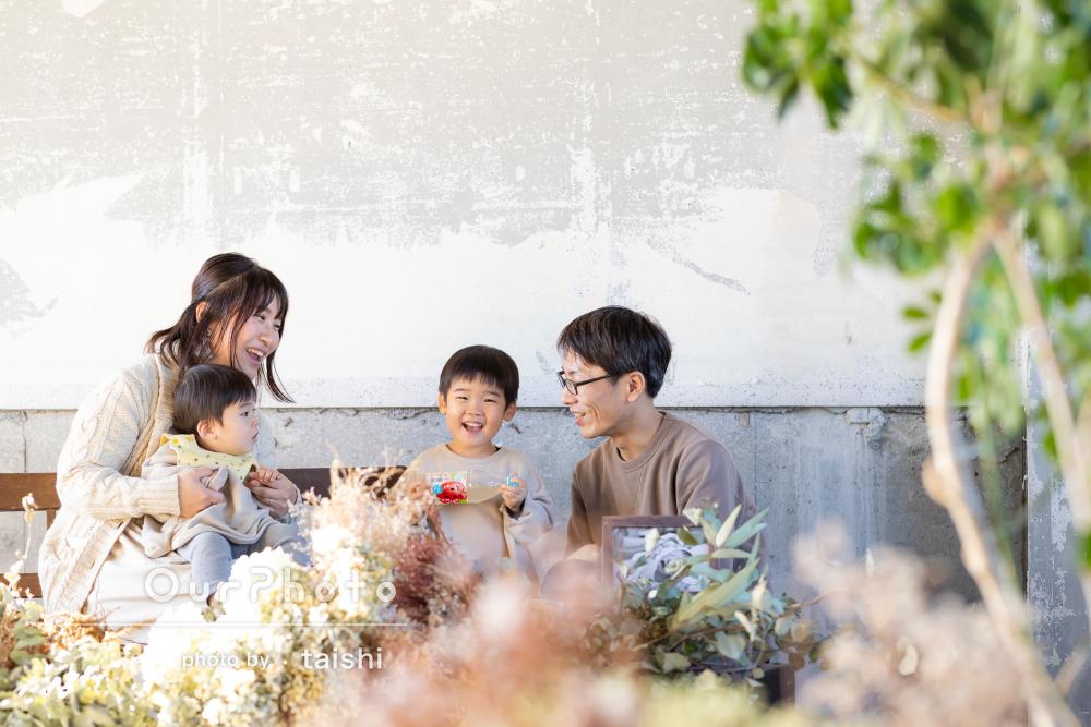 「じっとしてない息子も可愛く写真におさまっていて」家族写真の撮影