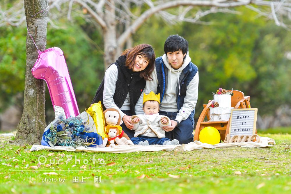 「自然に笑っている表情がたくさん」1歳の誕生記念に家族写真撮影