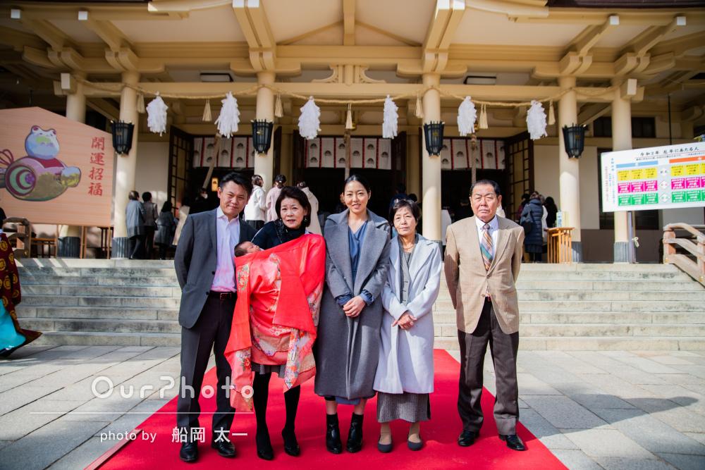 「アットホームな雰囲気の写真に家族みんな大満足」お宮参り写真の撮影