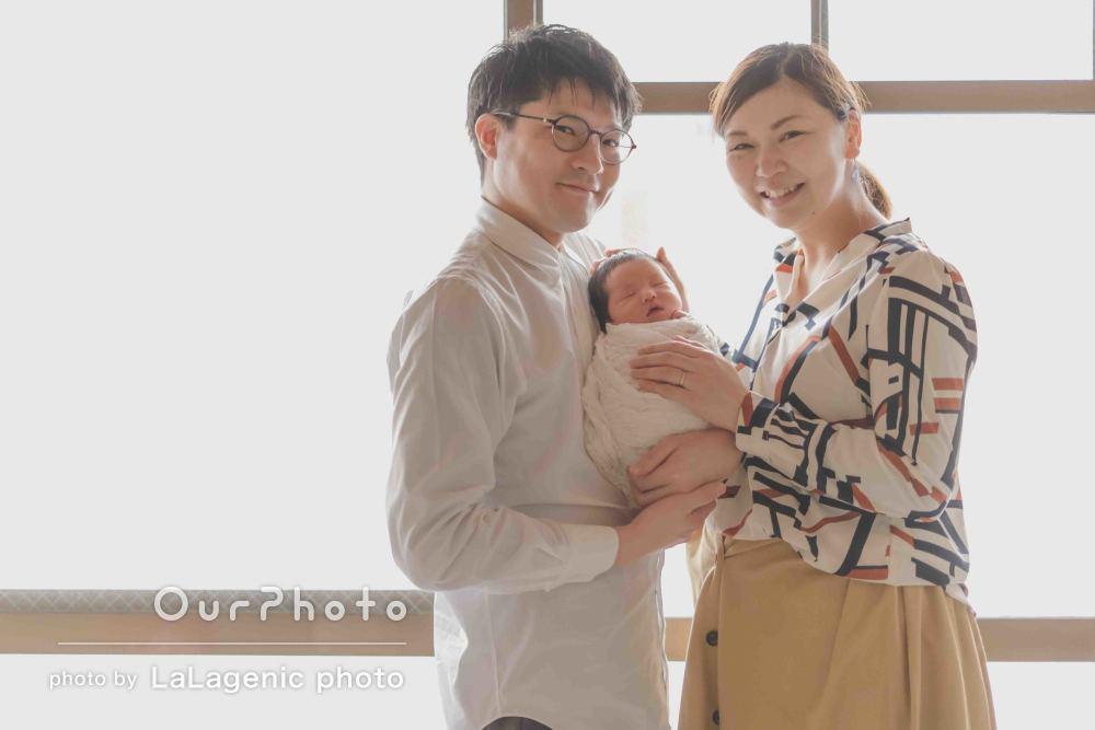 「撮影中も赤ちゃんに優しく配慮頂き安心」ニューボーンフォトの撮影