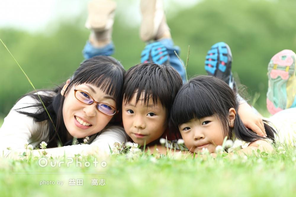 「自分では撮れないステキな写真をとっていただきました。」公園で楽しく遊びながら、家族写真の撮影
