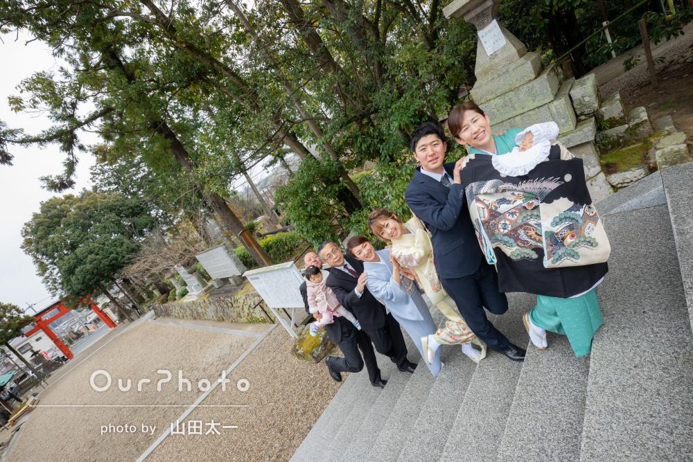 「家族みんなで楽しく撮影」王道写真もお茶目な写真もあるお宮参りの撮影