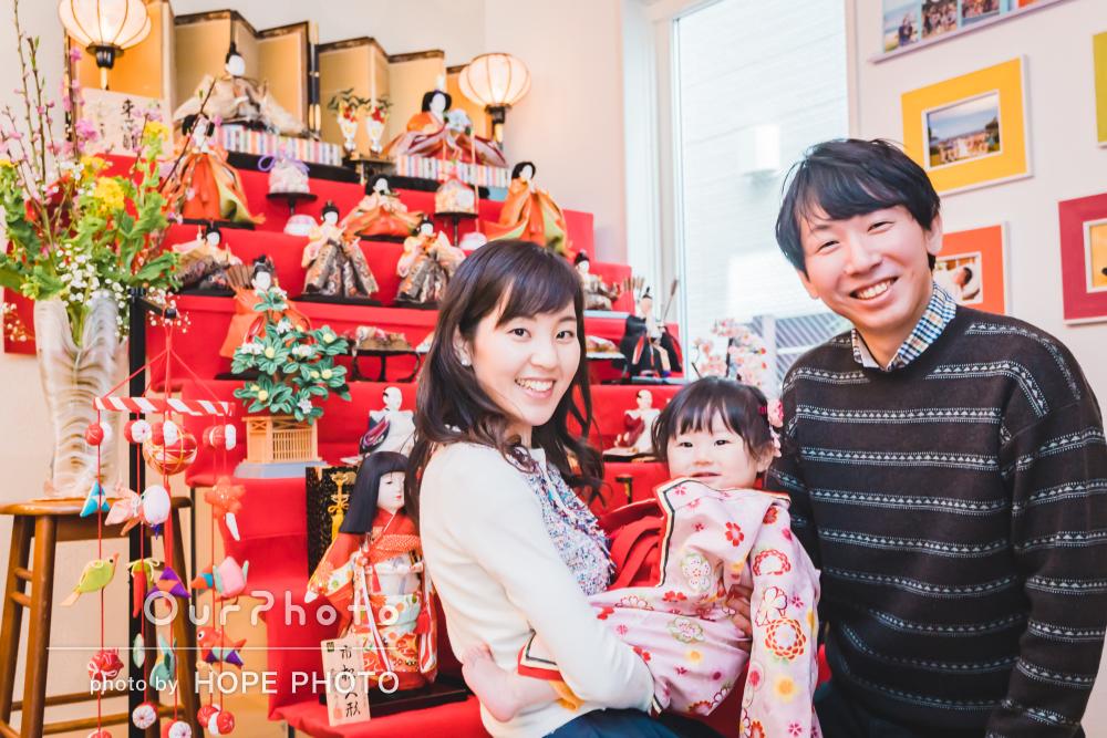 「丁寧な対応で安心」初節句を一升餅や選び取りで祝う家族写真の撮影