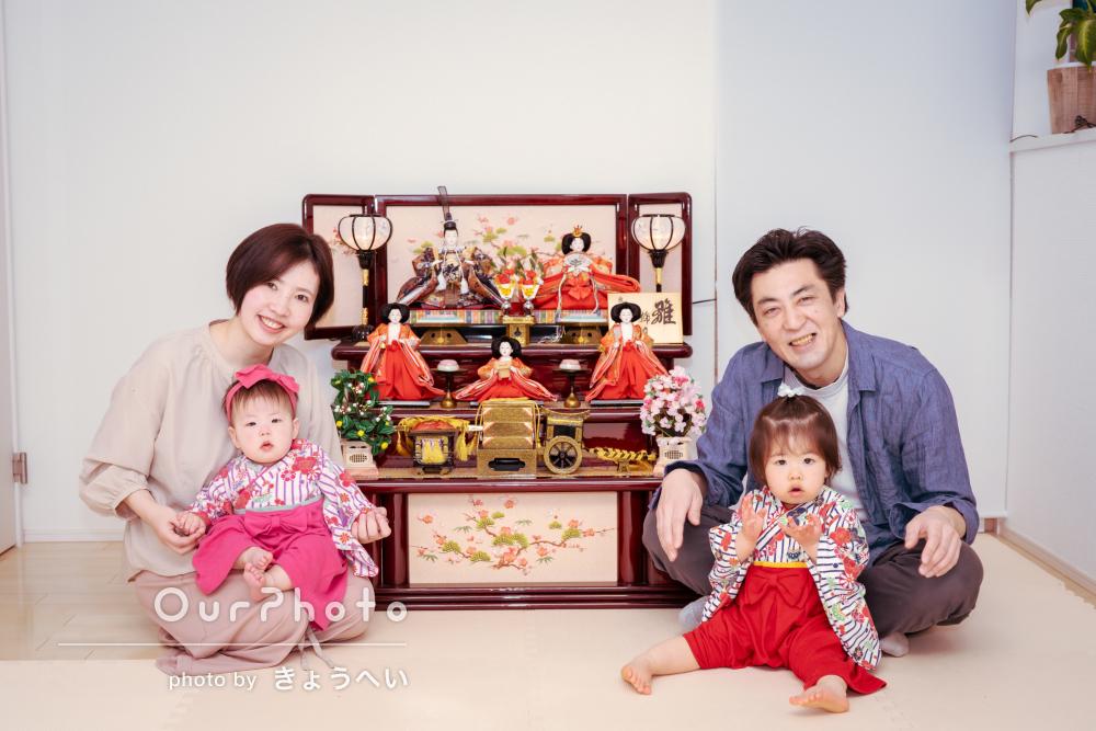 「お揃いの衣装で姉妹ショットも撮れて嬉しい」ひな祭りの家族写真