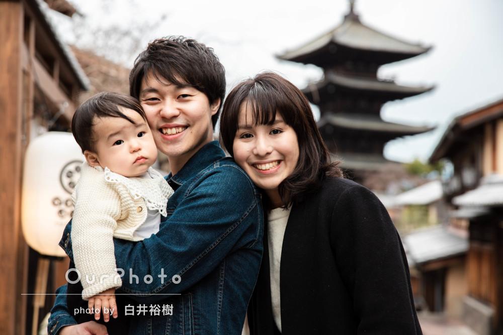 「家族の一生の思い出に」古都を散策しながら冬の家族写真の撮影