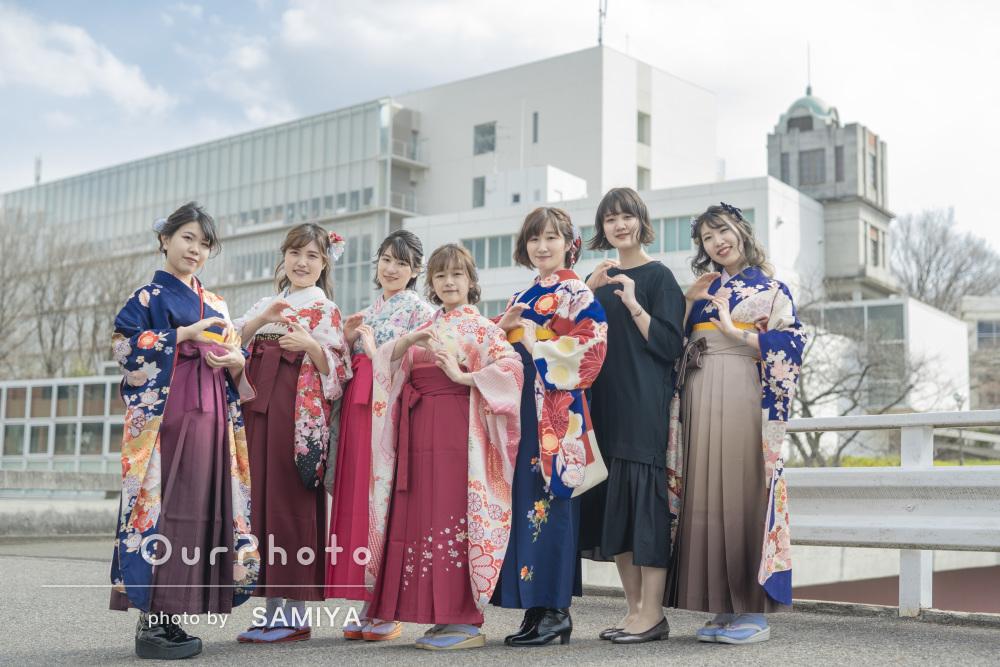 思い出いっぱいのキャンパス!袴姿で卒業記念の友フォトの撮影
