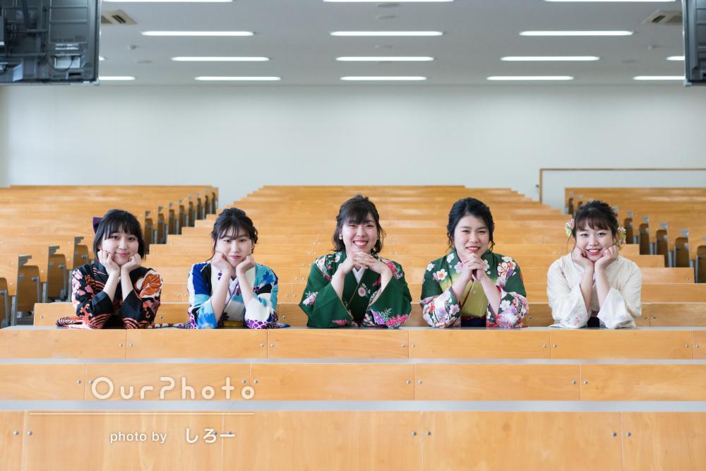 卒業おめでとう!色とりどりの袴を着てお友達と卒業記念の撮影