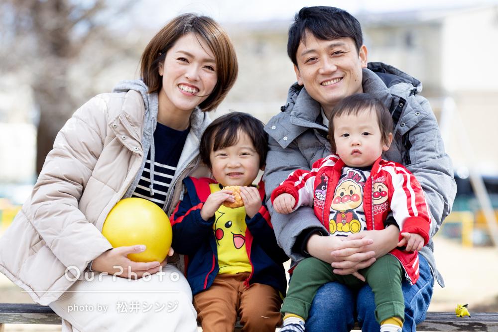 「素敵な瞬間をたくさん切り取っていただき」家族で公園遊びの撮影