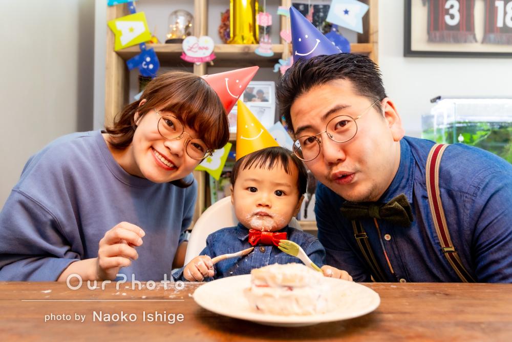 「ロケーションのアイディアも提案いただき」1歳お誕生日の家族写真撮影