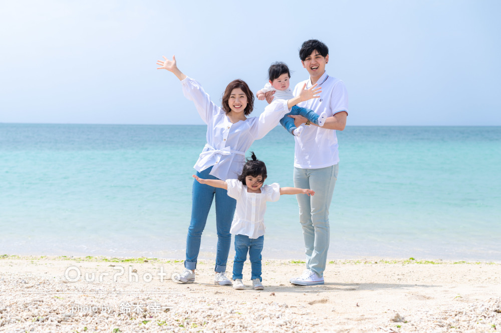 穏やかな陽射しの中で!沖縄を楽しむ爽やかな家族写真の撮影
