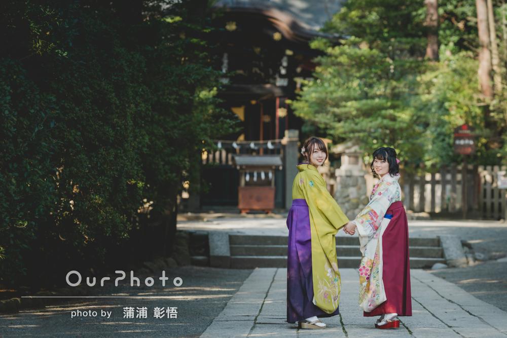 「友人と一緒に感激」卒業の記念に袴姿で心に残る友フォトの撮影