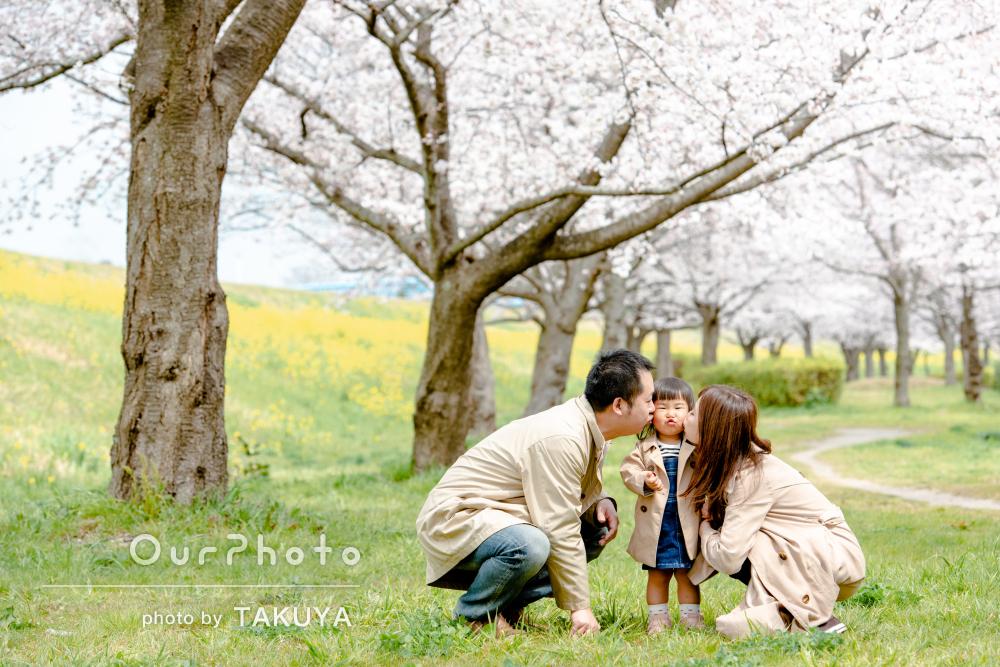 「とっても楽しい時間を過ごすことが出来」桜並木が美しい家族写真の撮影