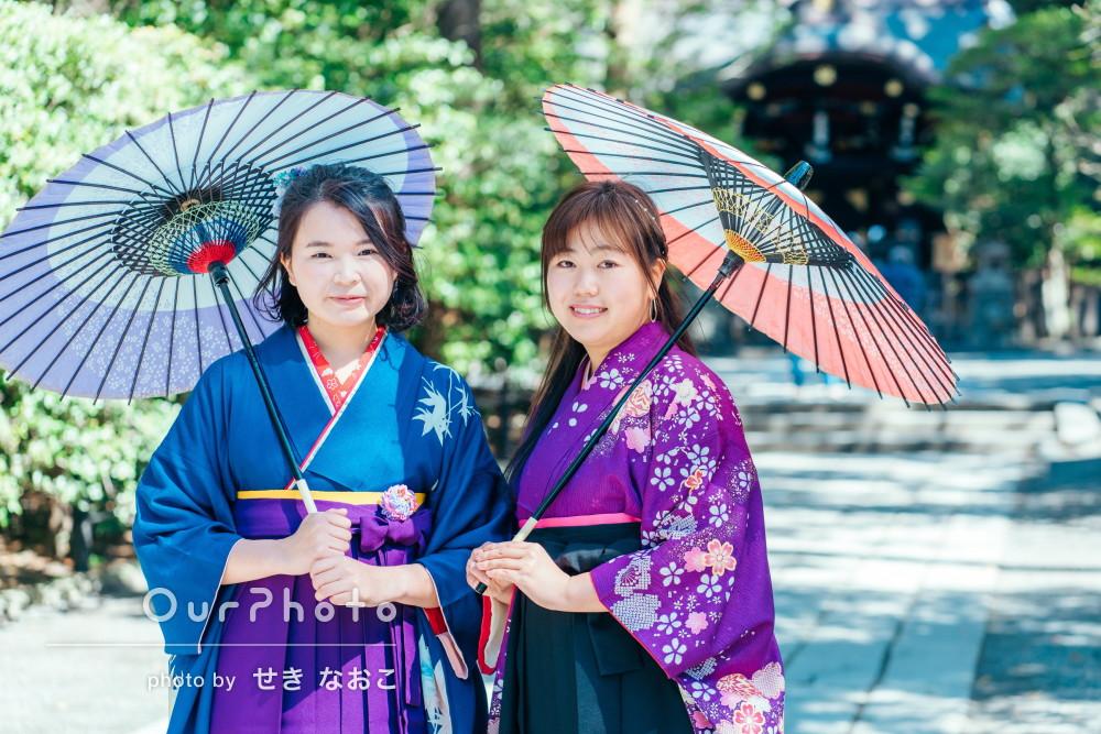 「自然な笑顔がとても素敵」卒業記念に美しい袴姿で友フォトの撮影