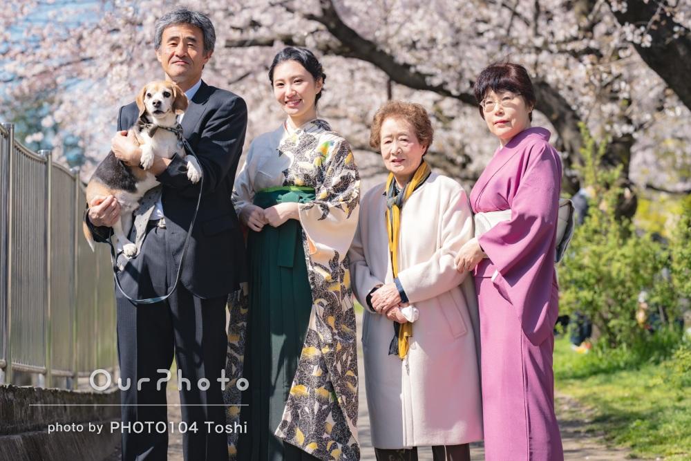 「短い時間の中綺麗に撮って下さりました」卒業記念の家族写真の撮影