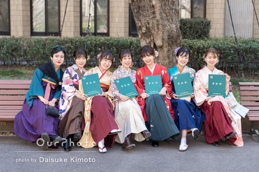 カラフルな袴が彩る旅立ちの日!大学の卒業記念の友フォト撮影
