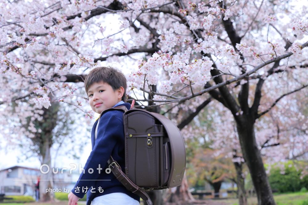 「撮影前から色々相談に乗ってくださり」桜並木の公園で一年生の記念撮影