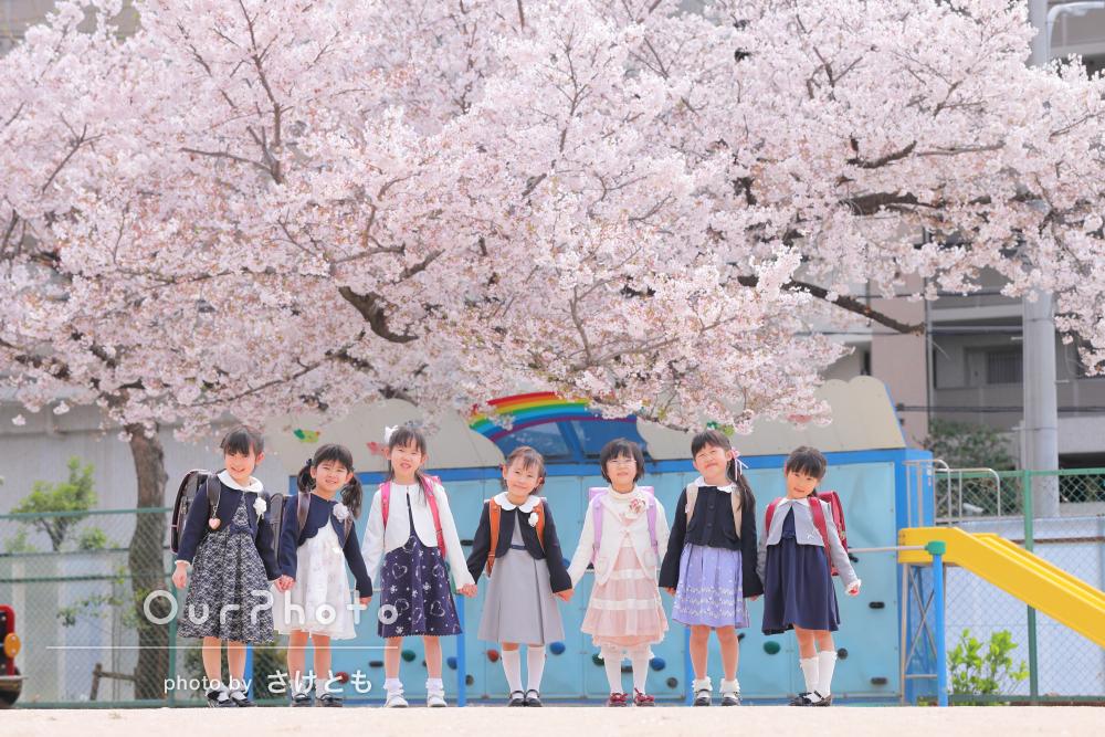 満開の桜の木の下に並ぶ晴れやかな笑顔!卒園・入学写真の撮影