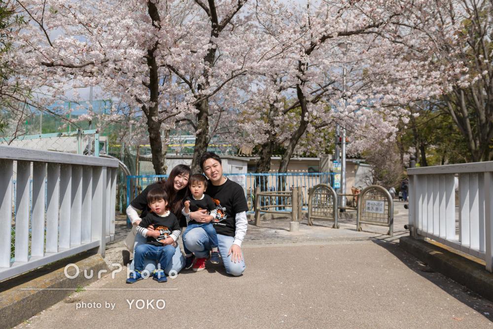 「大事な思い出になりました」うららかな春の日の家族写真撮影