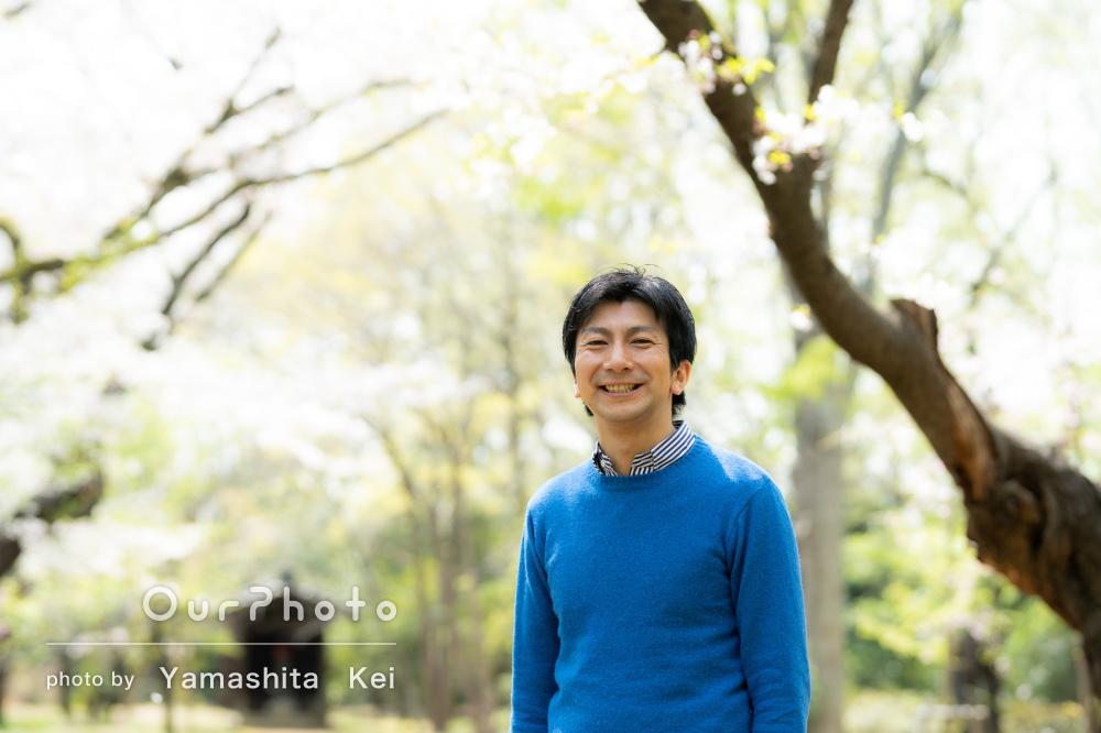「いろいろな提案をしていただき」青々とした緑を背景にプロフィール撮影
