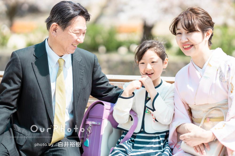 「仕上がりにも大変満足」桜満開!入学式の記念に家族写真の撮影