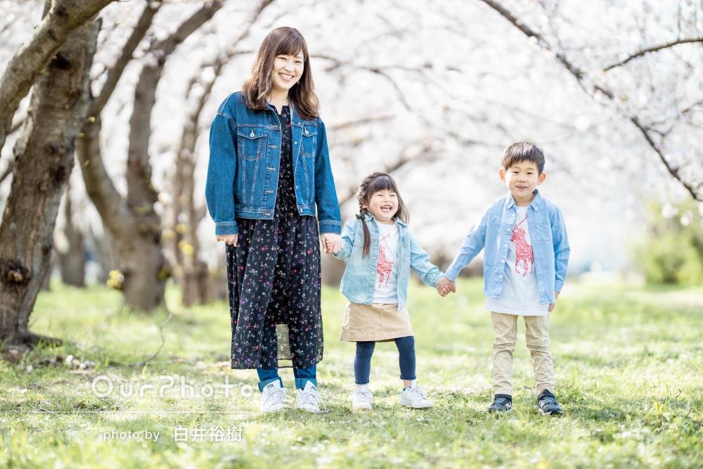 「自然な表情の写真」緊張しがちな兄妹もにっこり!桜並木でご家族の撮影