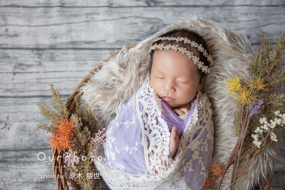「赤ちゃんのペースに優しく付き合って頂き」ニューボーンフォトの撮影