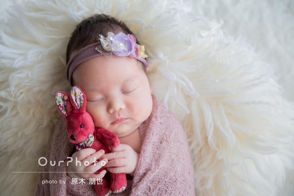 「撮影中も赤ちゃんが安心するよう配慮」ニューボーンフォトの撮影