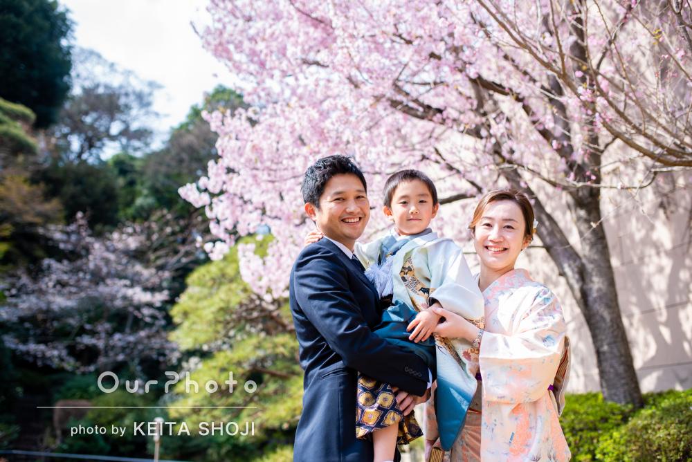「子供の緊張も一瞬でほぐれました」春の日本庭園で七五三の前撮り