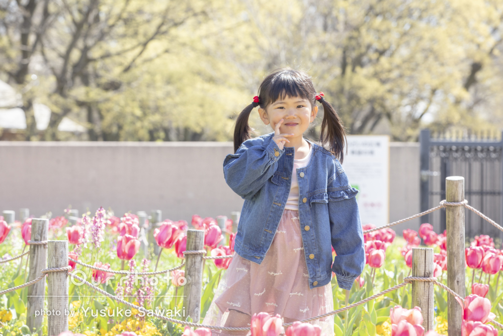 「自然な姿を撮って頂けて」春のお花に囲まれて!ご家族の撮影