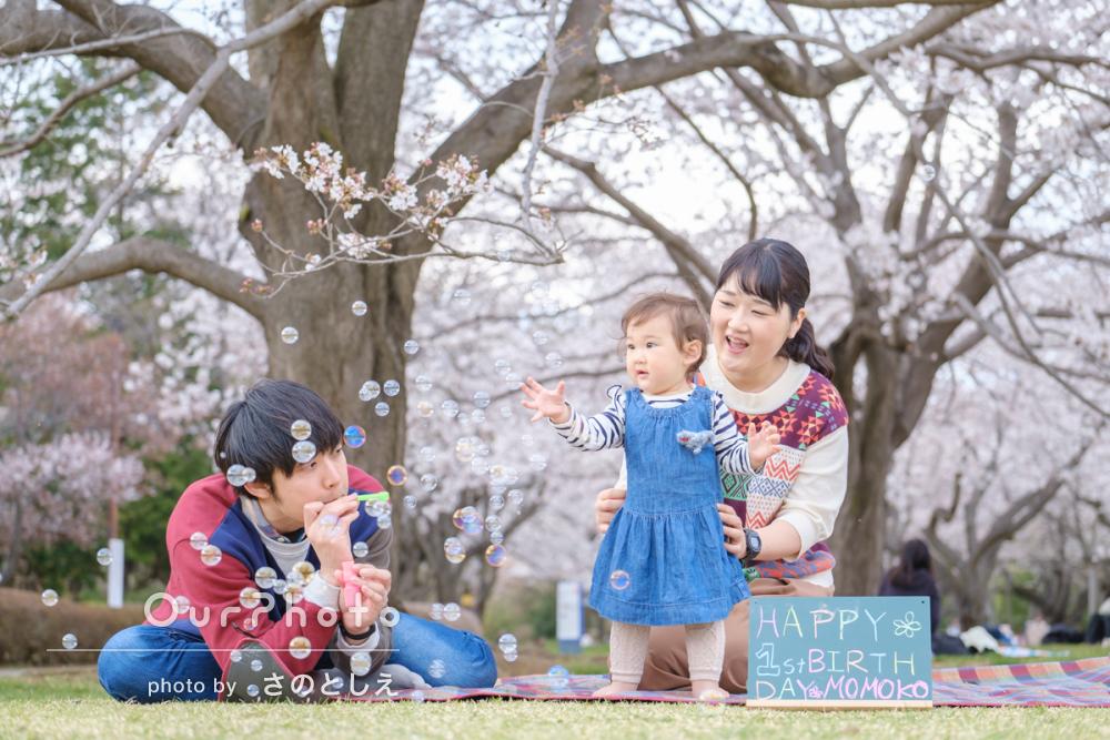 「撮影がサクサク進みスムーズ」1歳のお誕生日記念に家族写真の撮影