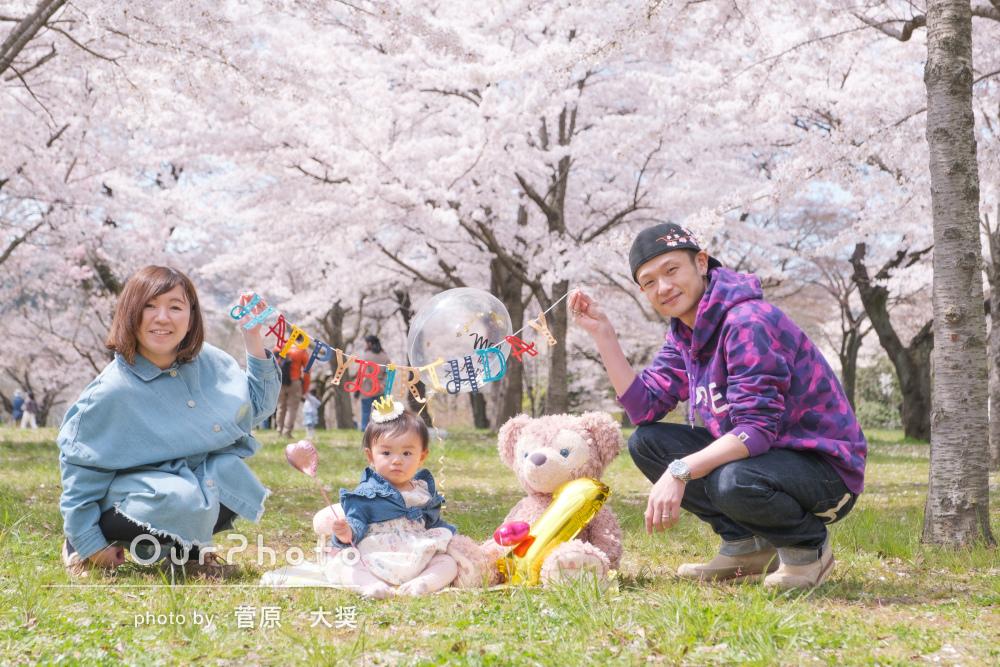 「撮る場所などアドバイス頂き」桜が満開!1歳のバースデーフォトの撮影
