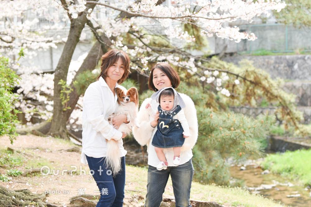 桜に興味津々!なかよしリンクコーデでハーフバースデーの撮影